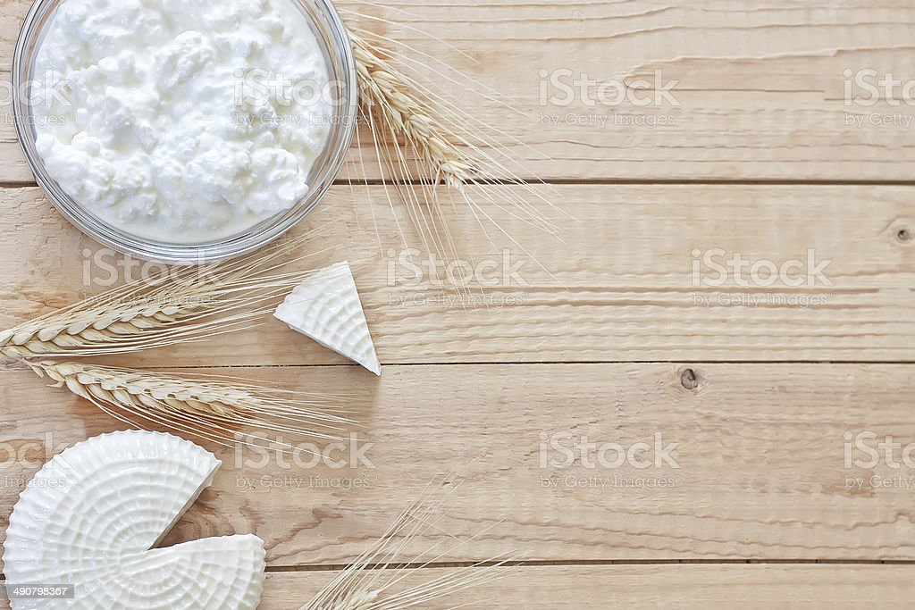 Dairy products and grains background stock photo