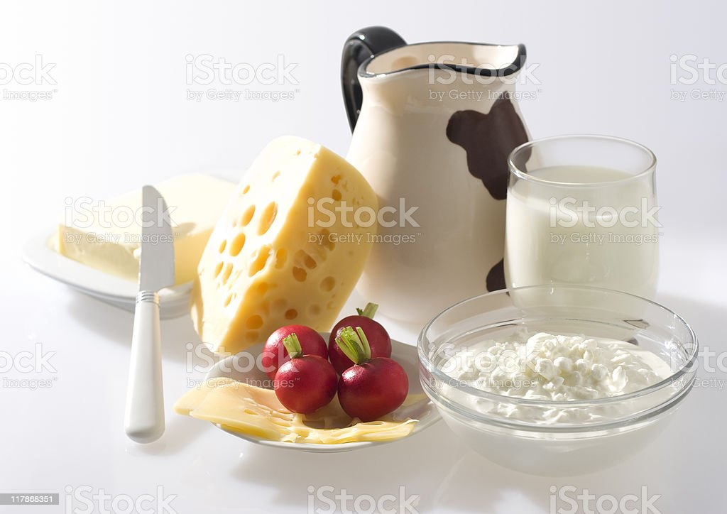Dairy products and radish. royalty-free stock photo