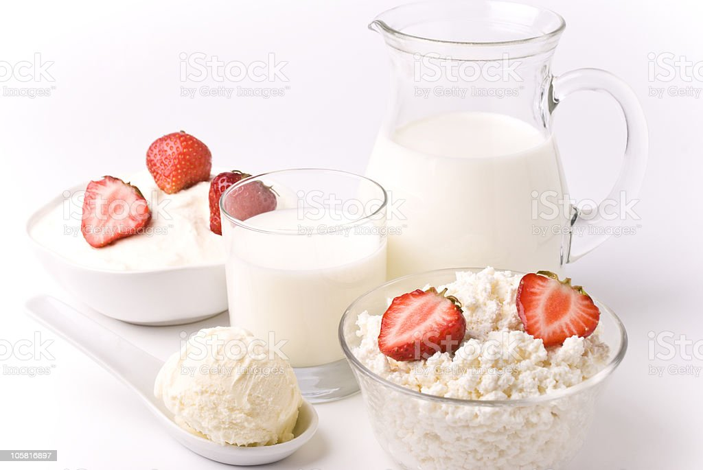 Dairy products and strawberries royalty-free stock photo