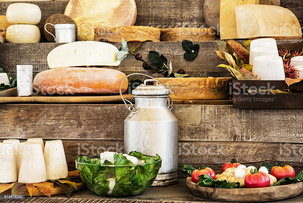 Dairy products and vegetables, grocery shop stock photo
