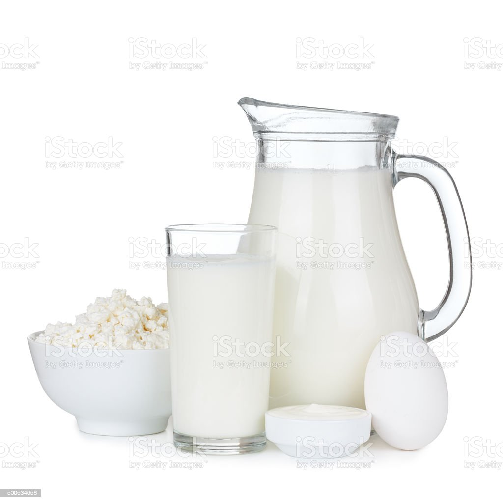 Dairy products isolated stock photo