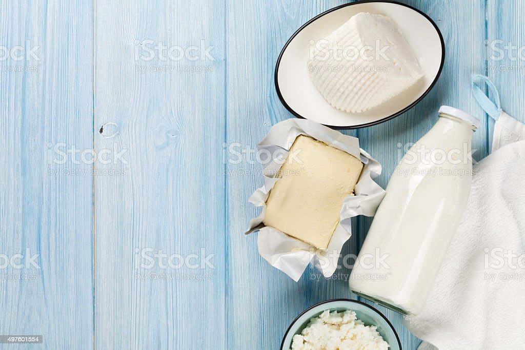 Dairy products. Milk, cheese, curd cheese and butter stock photo