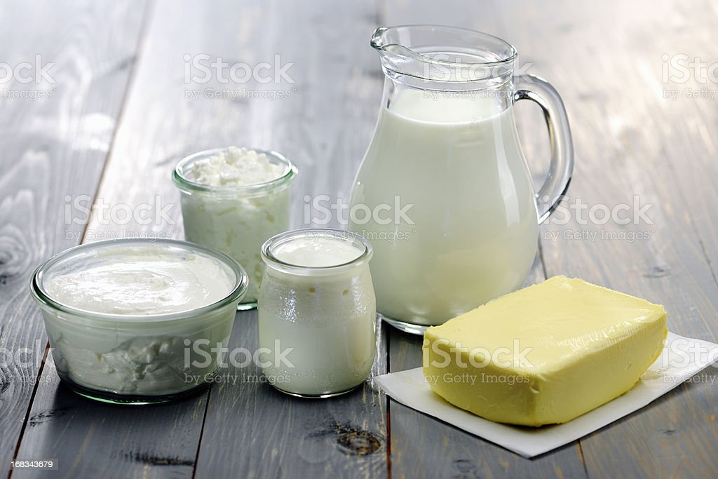 Dairy Products; milk,cheese,ricotta, yogurt and butter royalty-free stock photo
