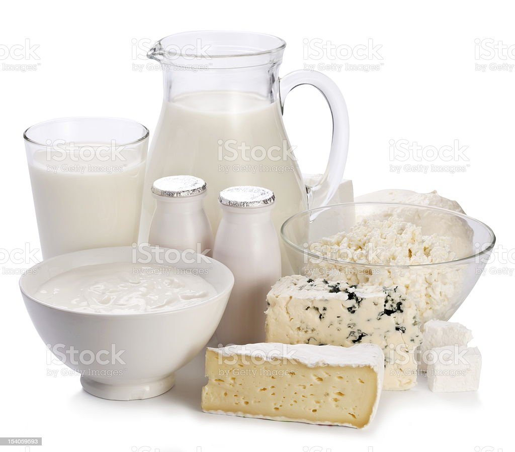 Dairy products on a white background. stock photo