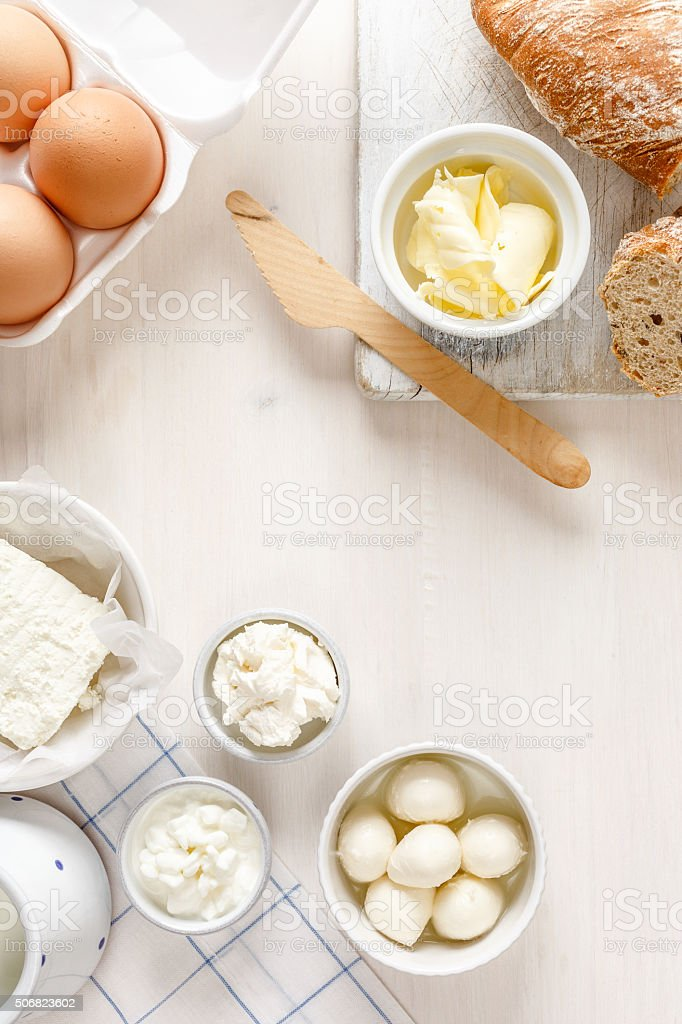 Dairy products on a white table stock photo