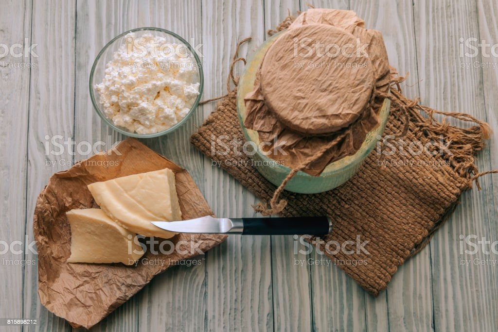 Dairy products on a wood background stock photo
