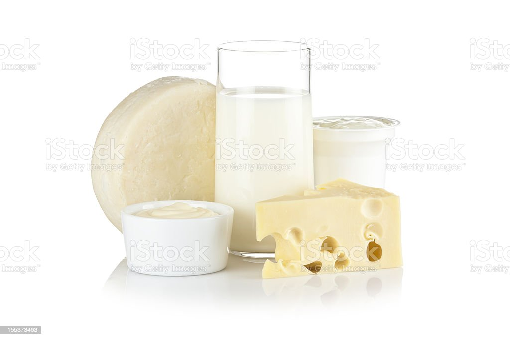 Dairy products shot on reflective white background stock photo