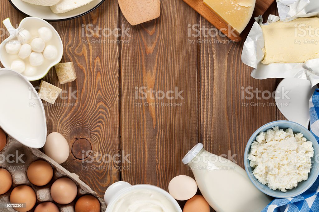 Dairy products. Sour cream, milk, cheese, egg, yogurt and butter stock photo