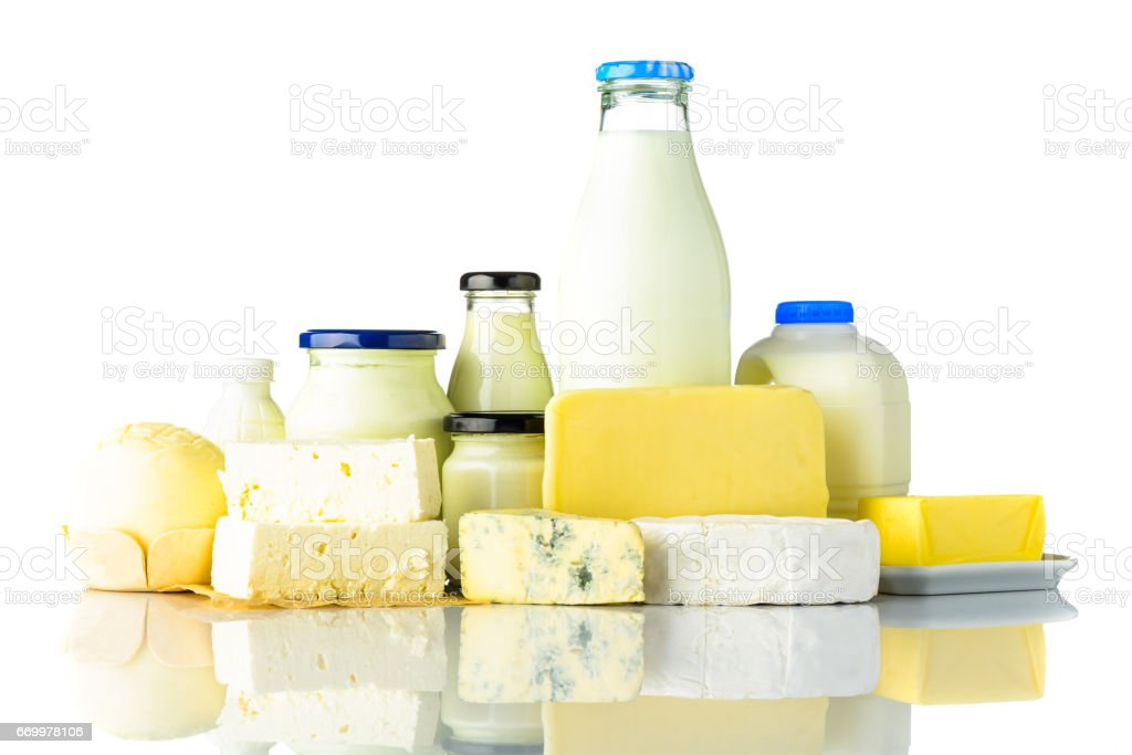 Dairy Products with Cheese and Milk on White Background stock photo