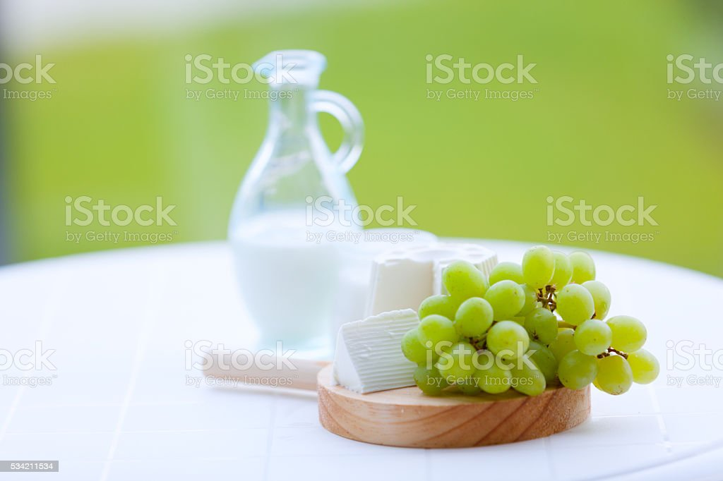 Dairy products-Symbols of jewish holiday. stock photo