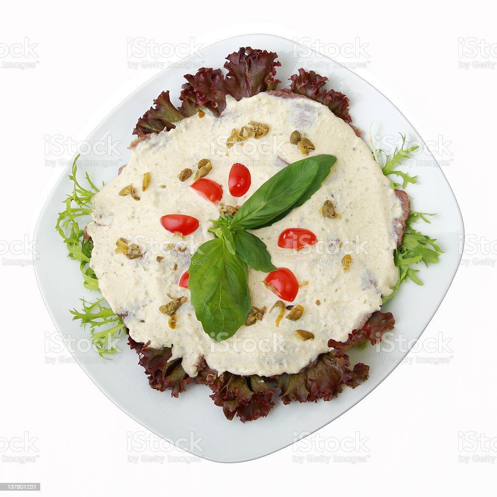 dairy veal with tuna sauce royalty-free stock photo