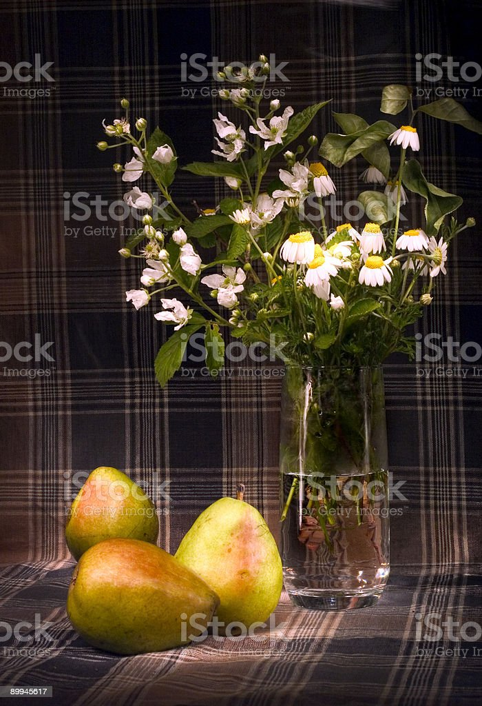 daisies and pears royalty-free stock photo