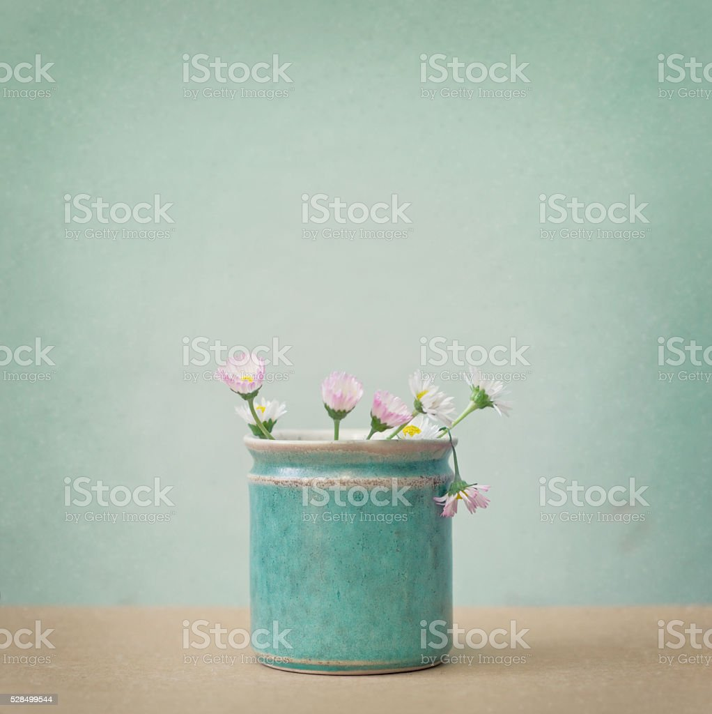 Daisies in green rustic vase stock photo