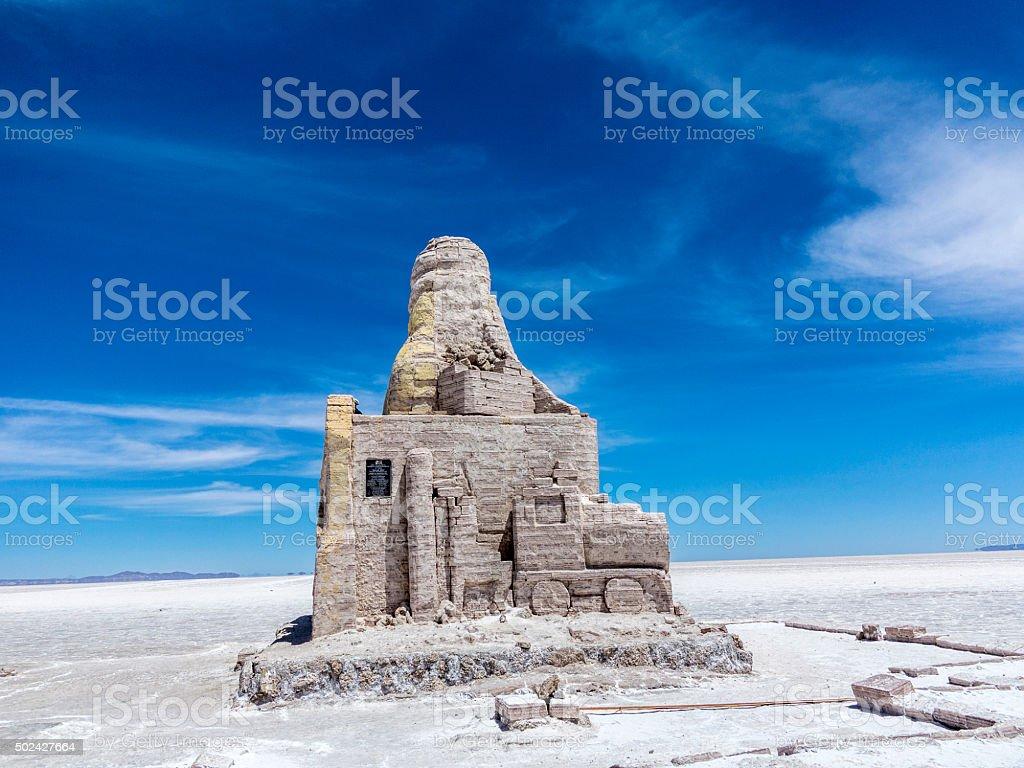 Dakar Bolivia Monument in Salar de Uyuni, Bolivia stock photo
