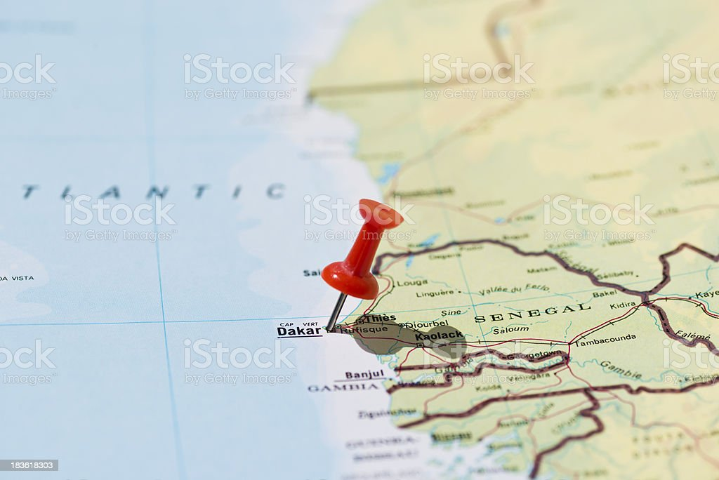 Dakar Marked on Map with Red Pushpin stock photo