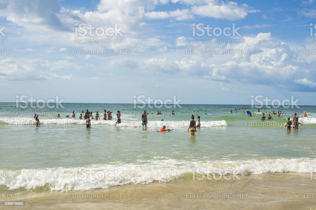 Dakar residents enjoying themselves at the beach stock photo