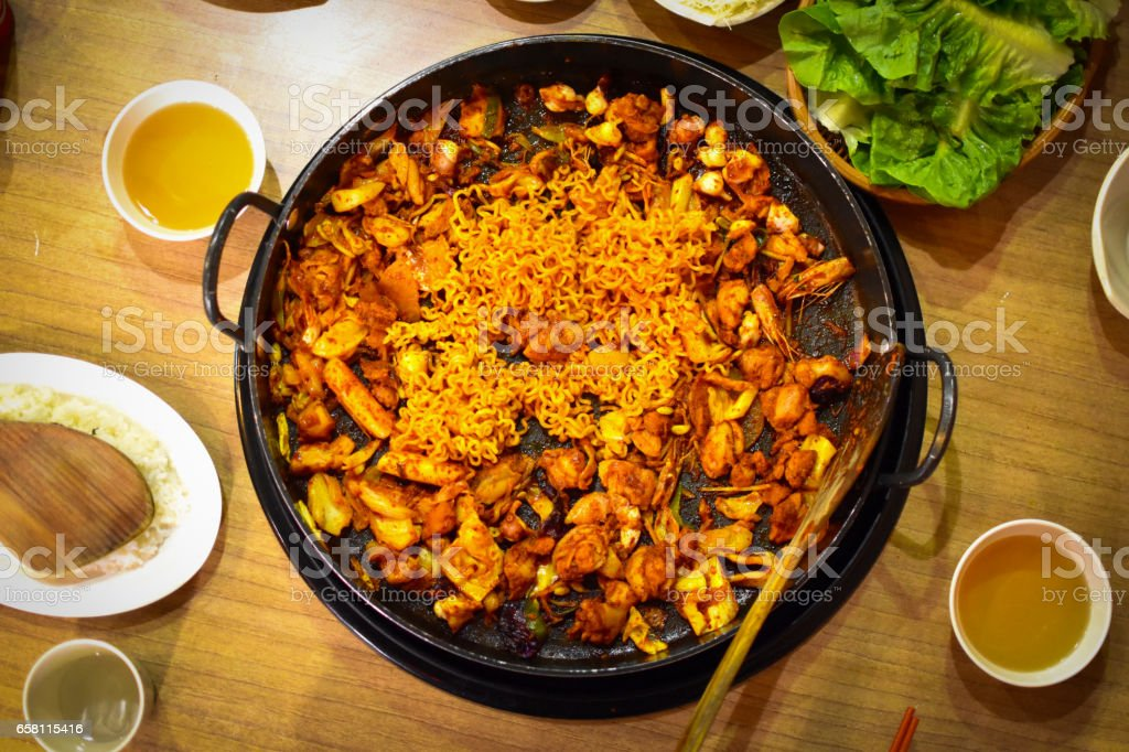 Dakgalbi or Spicy grilled chicken and vegetables recipe. stock photo