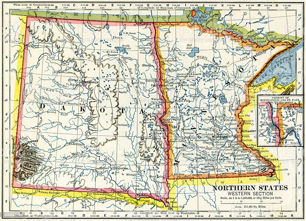 Dakota And Minnesota, USA Map 1883 stock photo