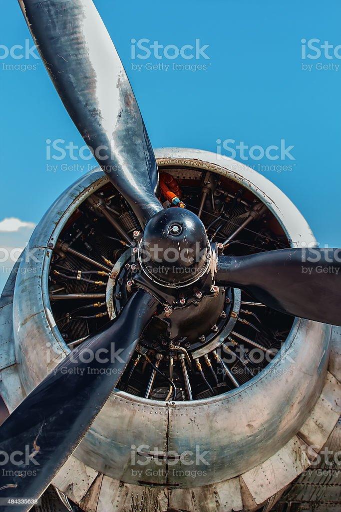Dakota Douglas C 47 transport engine and propeller close up stock photo