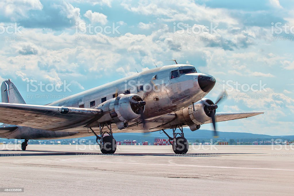 Dakota Douglas C 47 transport  plane boarded on runway stock photo