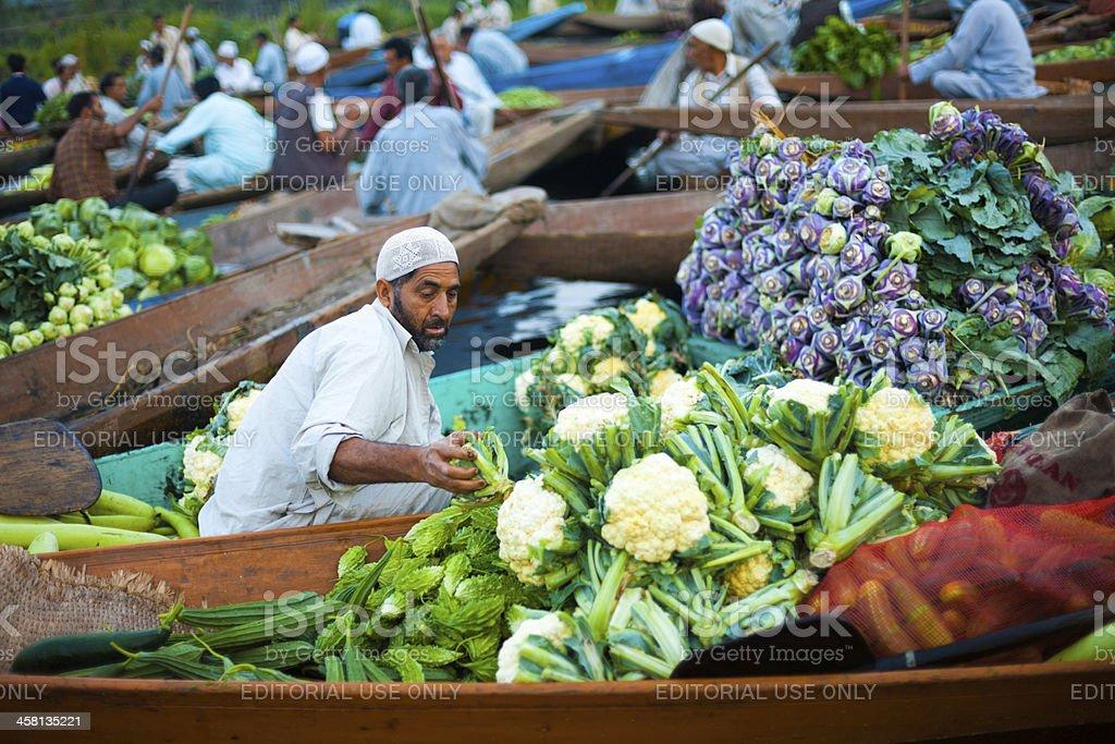 Dal Lake Floating Market Boat Full Vegetables stock photo