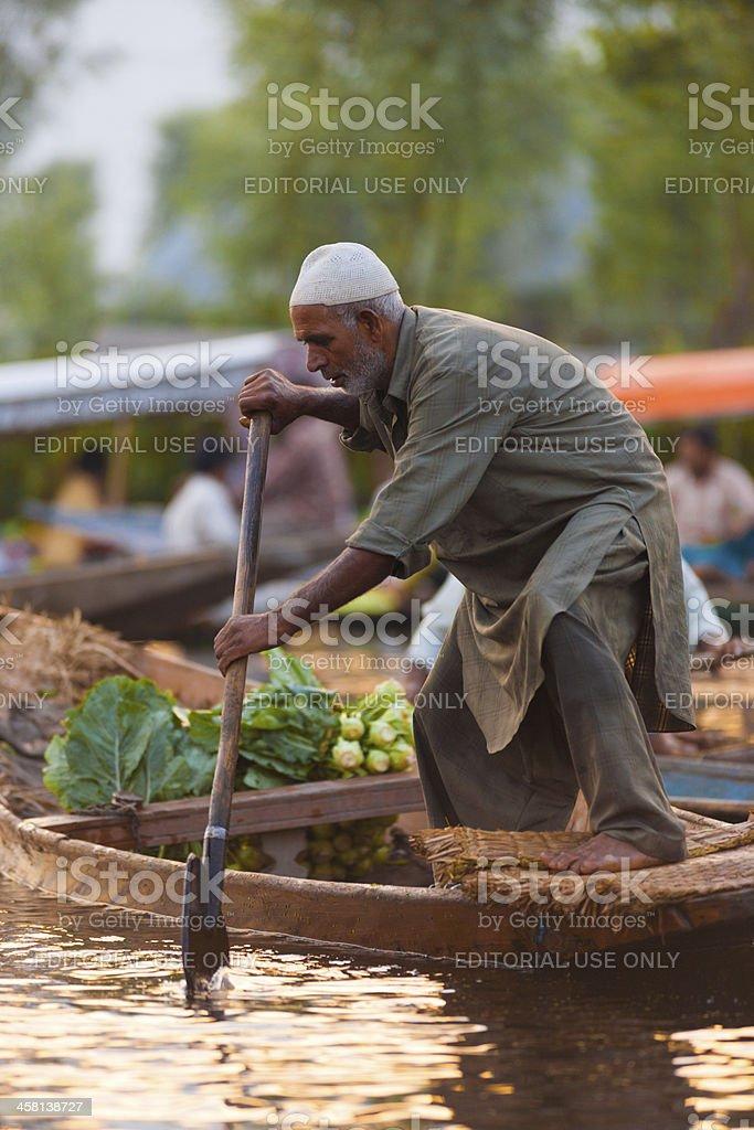 Dal Lake Floating Market Man Standing Rowing royalty-free stock photo