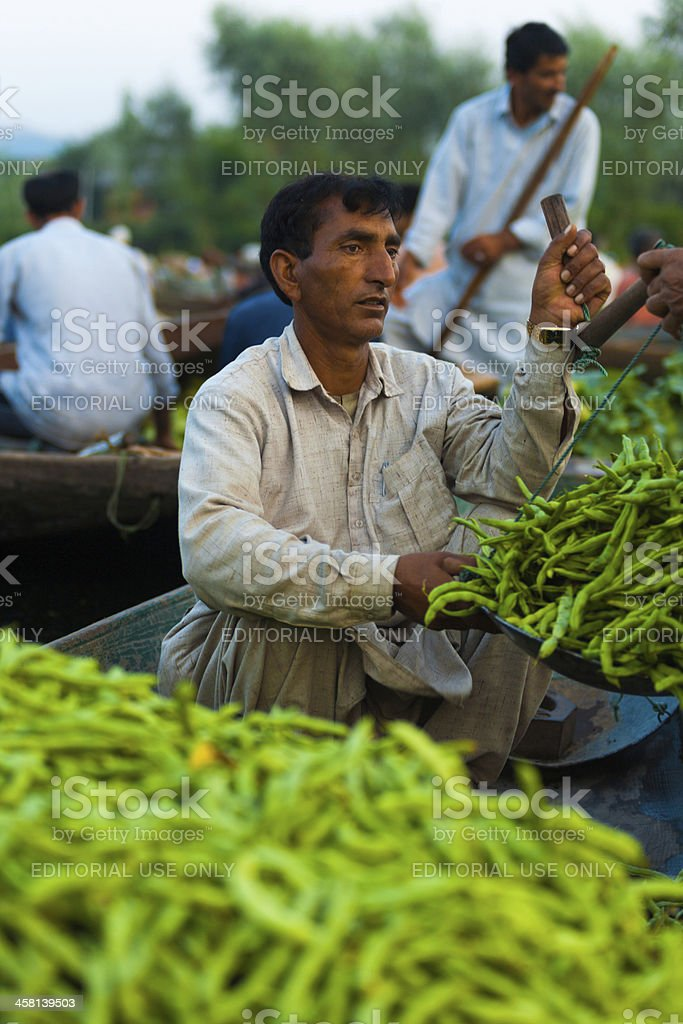 Dal Lake Floating Market Weighing Vegetables Boat royalty-free stock photo