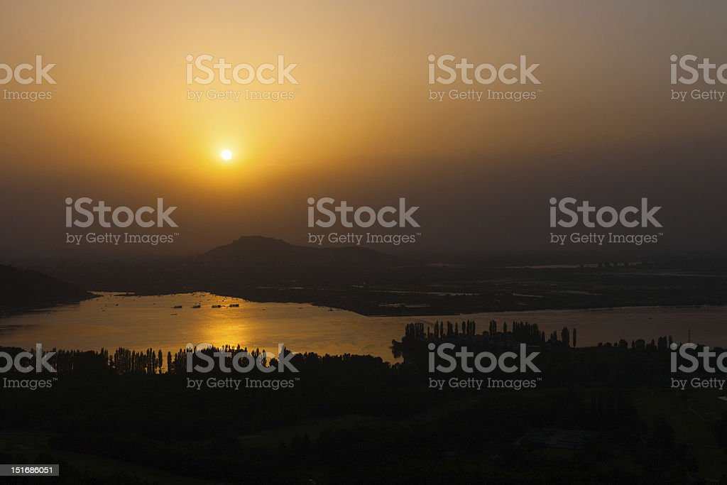 Dal Lake Landscape Aerial View Srinagar Sunset royalty-free stock photo