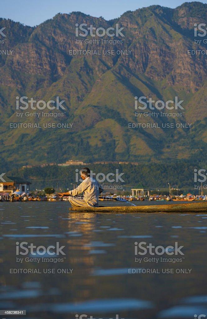 Dal Lake Mountains Landscape Boat Man Scenic stock photo