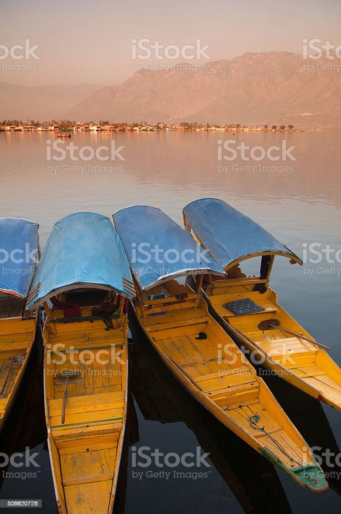 Dal lake, the tourist attractive destination in northern India, stock photo