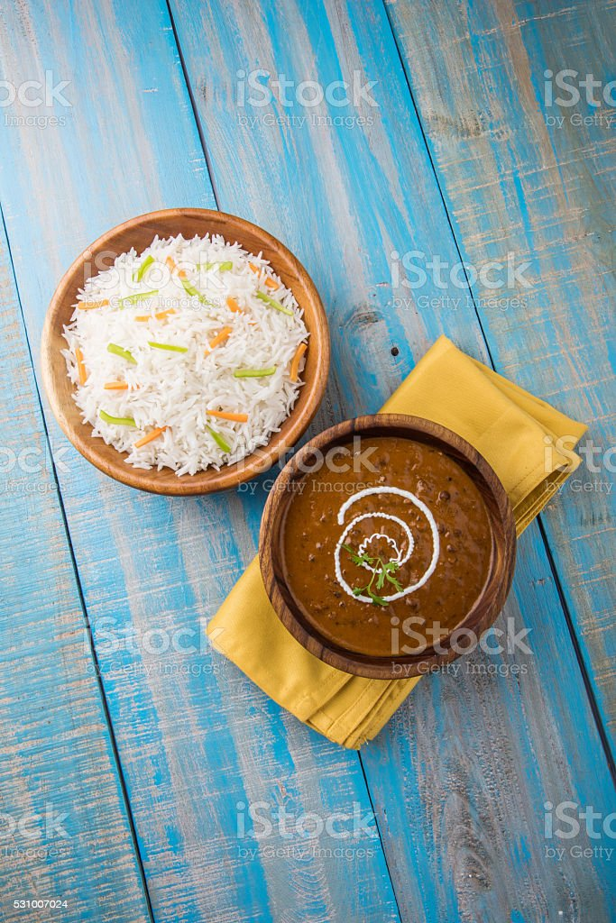 dal makhani / daal makhani/dal makhni with plain basmati rice stock photo