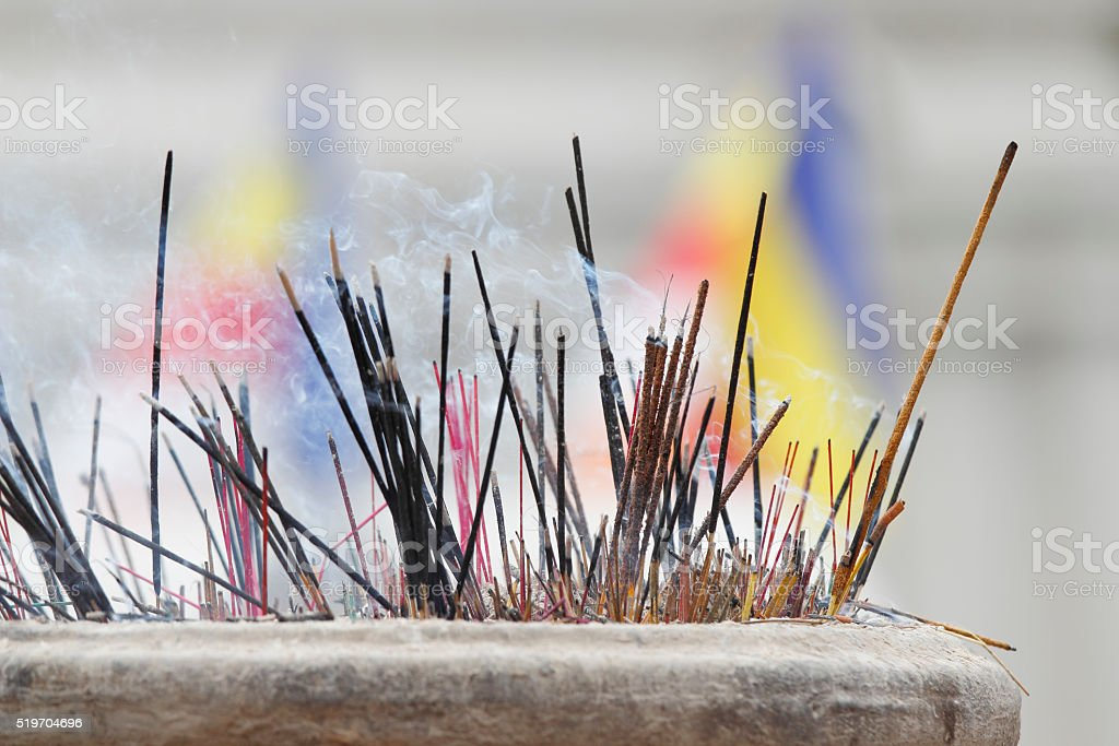 Dalada Maligawa temple  smoking insense sticks in Kandy Sri lanka stock photo
