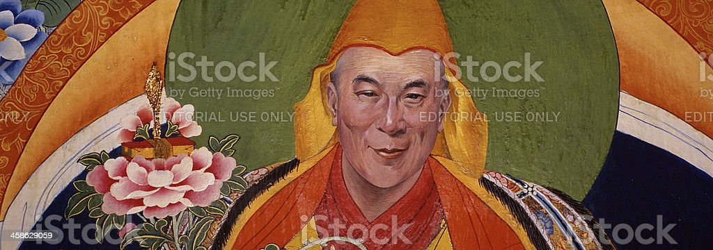 Dalai Lama mural portrait in iconic style stock photo