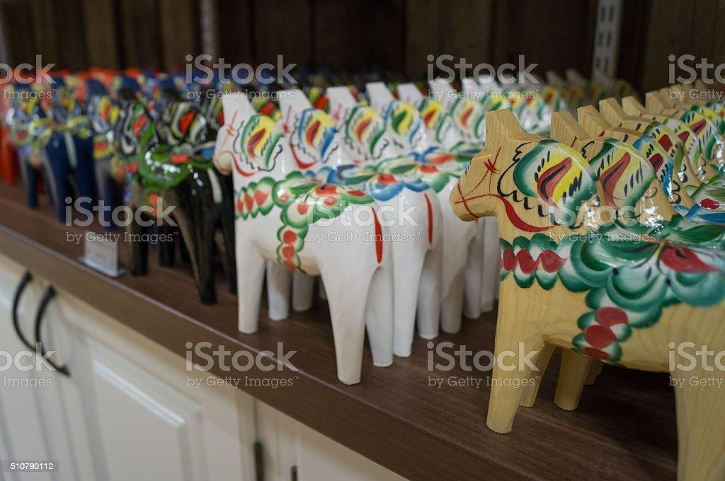 Dalecarlian horses in a store stock photo