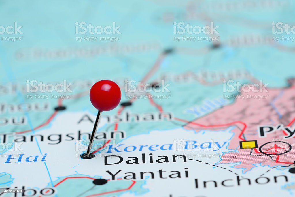 Dalian pinned on a map of Asia stock photo
