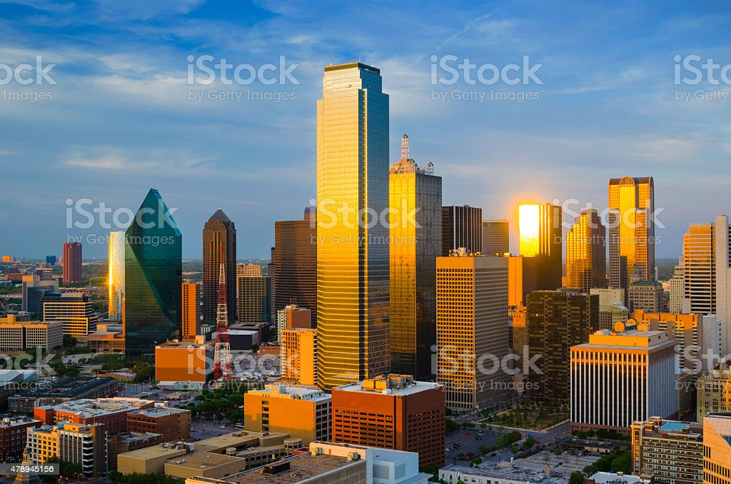 Dallas aerial skyline view at sunset / golden hour stock photo