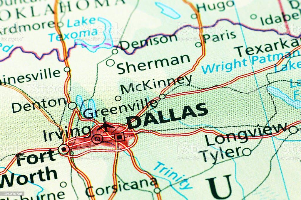 Dallas area in a map stock photo