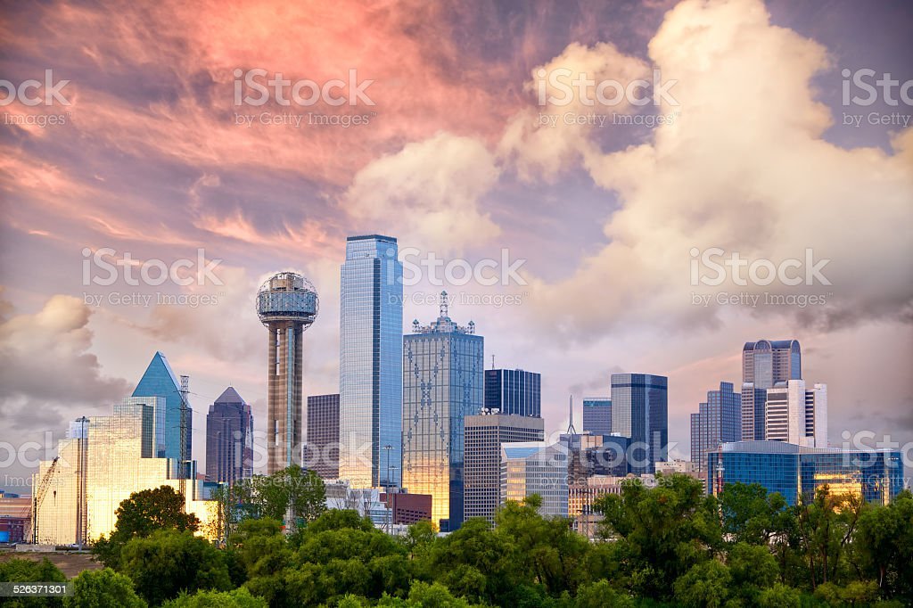 Dallas at sunset stock photo