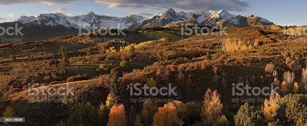 Dallas Divide Autumn Panorama stock photo