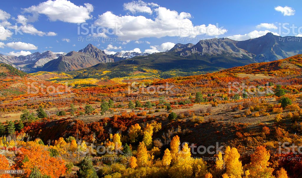 Dallas Divide mountain pass in Colorado with fall colors stock photo