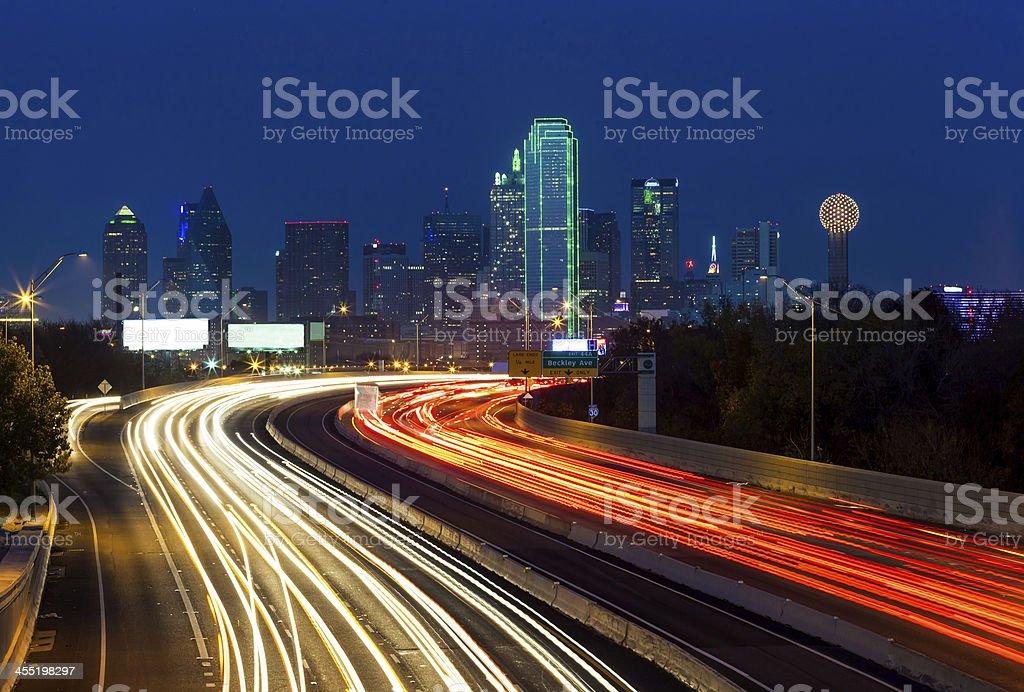 Dallas downtown at night stock photo
