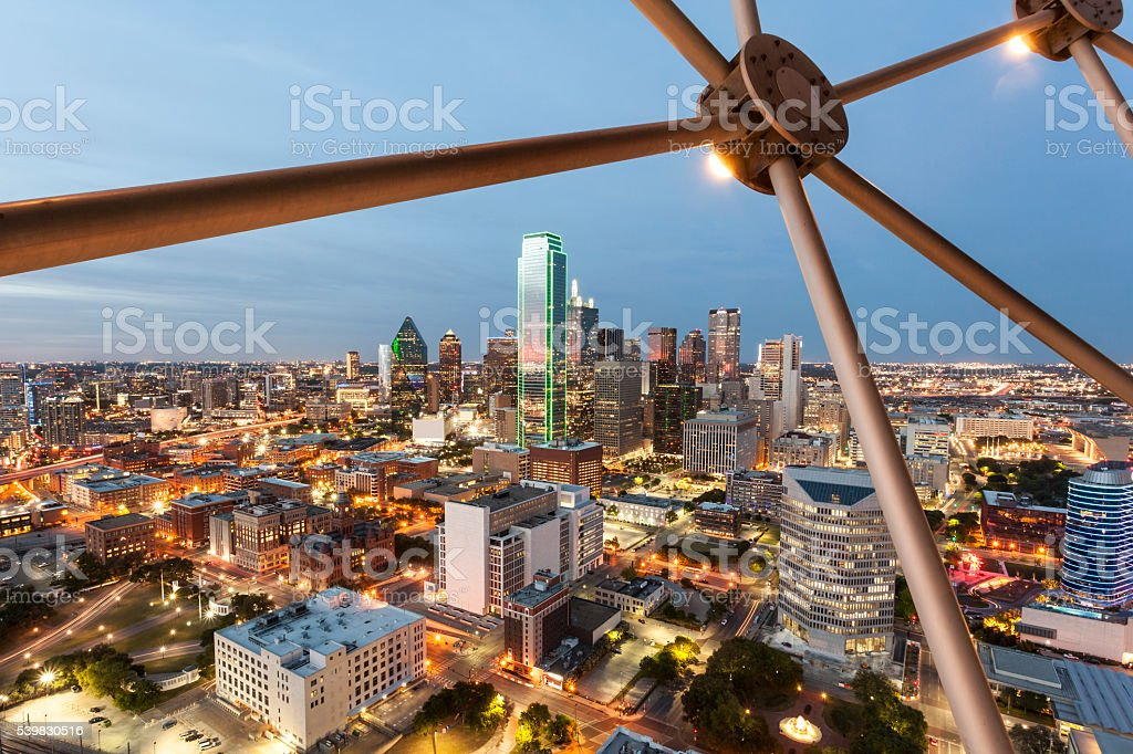 Dallas Downtown at night stock photo