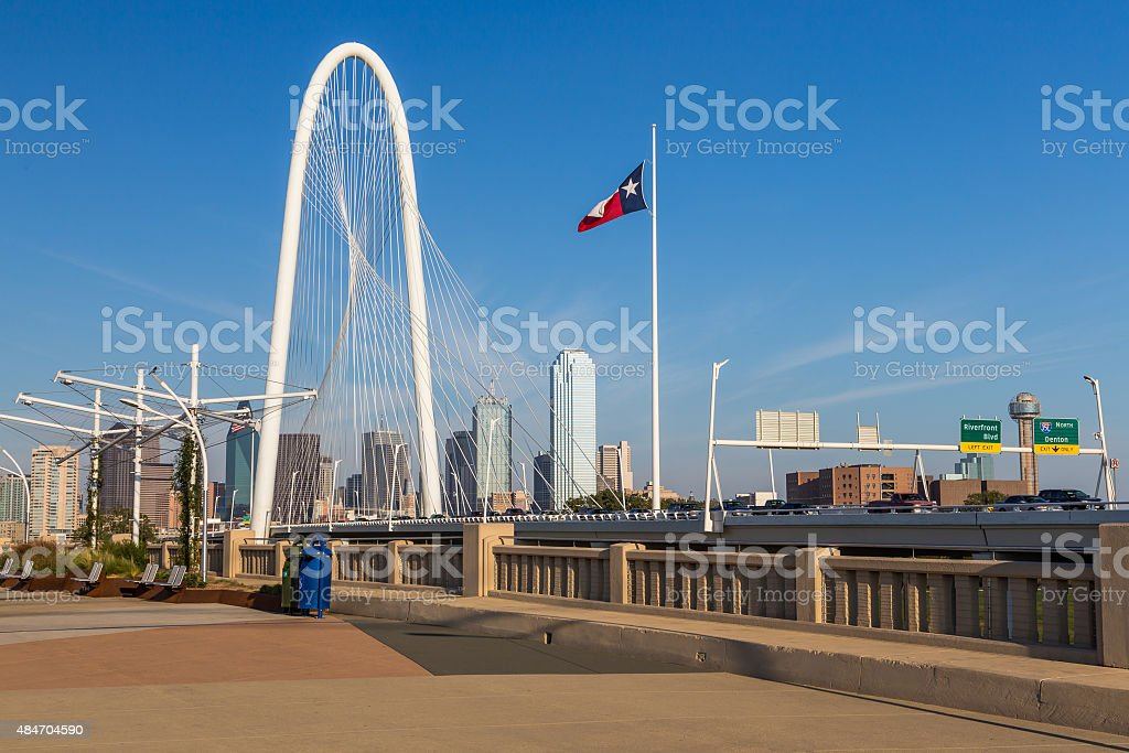 Dallas downtown skyline and Margaret hut hills bridge from Conti stock photo