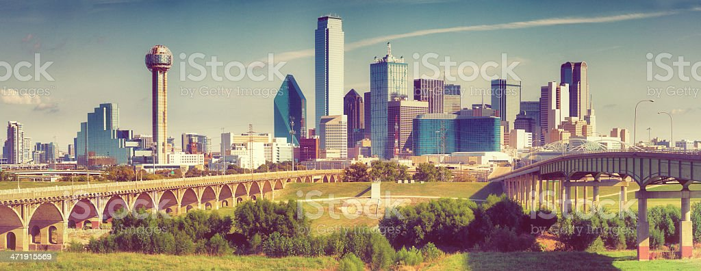 Dallas Downtown Skyline Panoramic stock photo