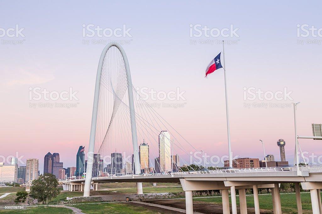 Dallas downtown skyline with Margaret hut hills bridge stock photo