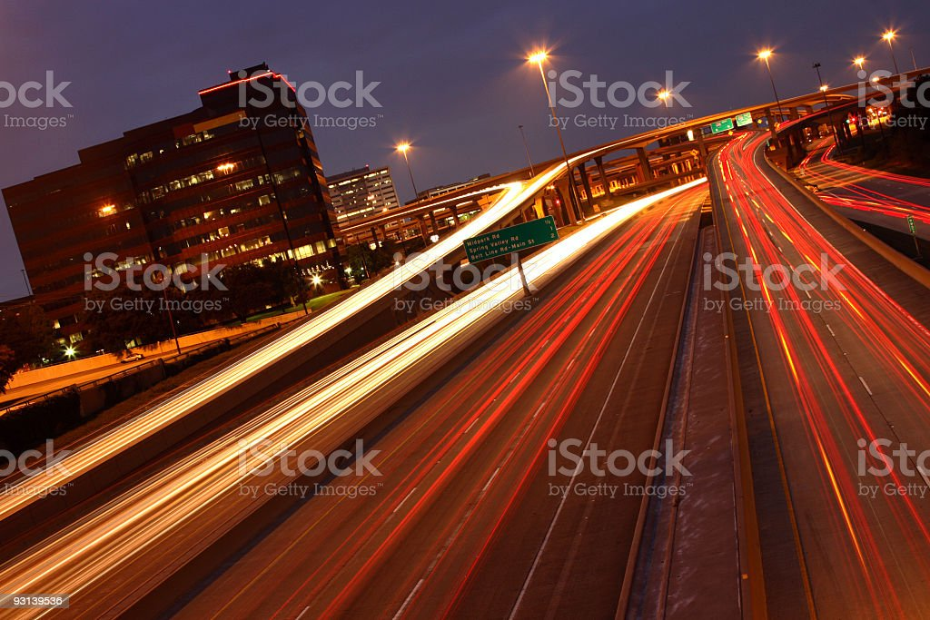 Dallas High Five Interchange in dusk stock photo