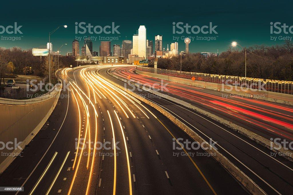 Dallas night skyline stock photo
