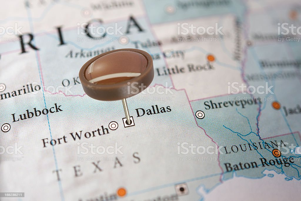 Dallas on a map with football pin royalty-free stock photo