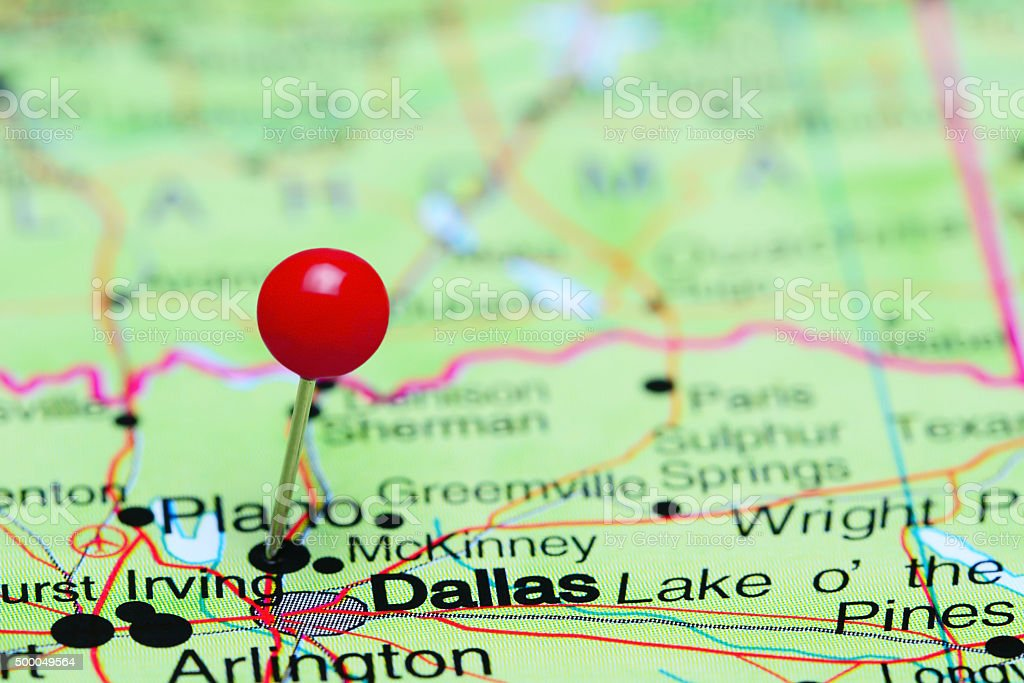Dallas pinned on a map of USA stock photo