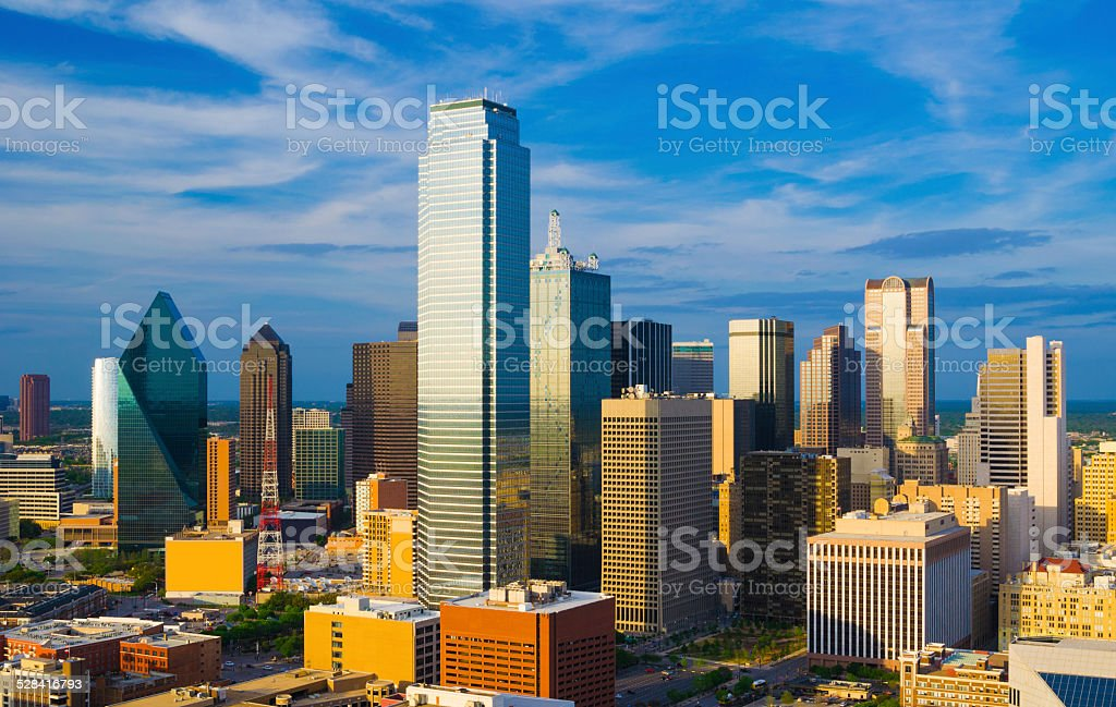 Dallas downtown skyline aerial / elevated view at the late afternoon.